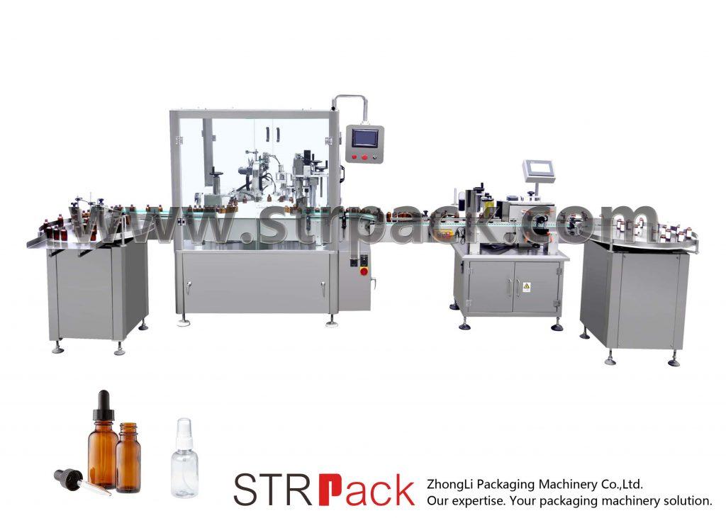 آلة تعبئة وتغطية زجاجات القطارة الأوتوماتيكية