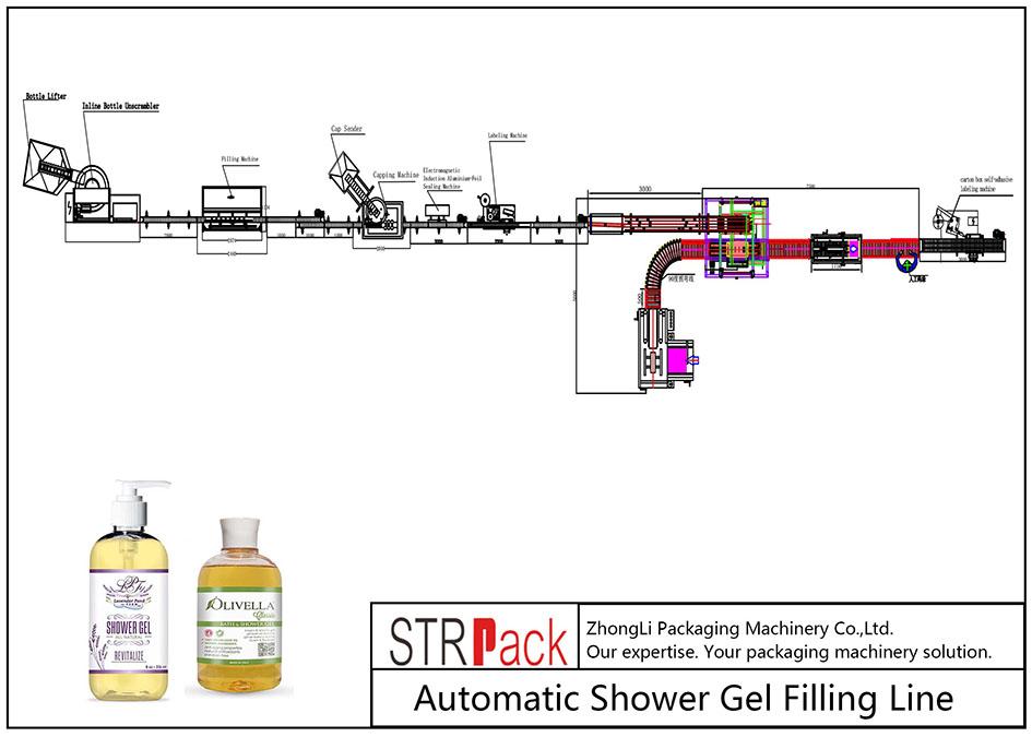 خط تعبئة جل الاستحمام التلقائي