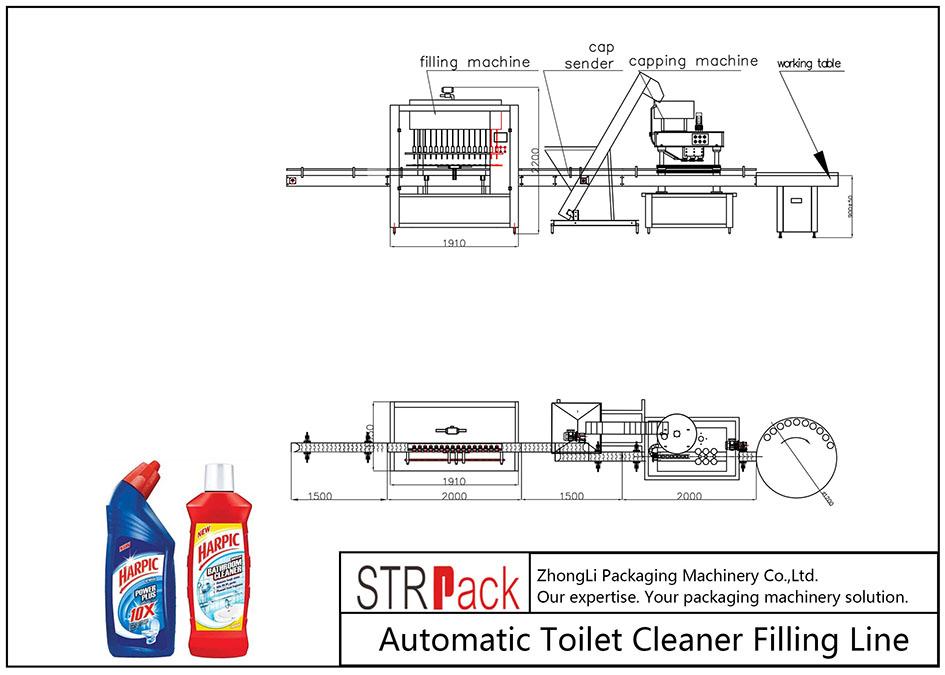 خط تعبئة منظف المرحاض الأوتوماتيكي